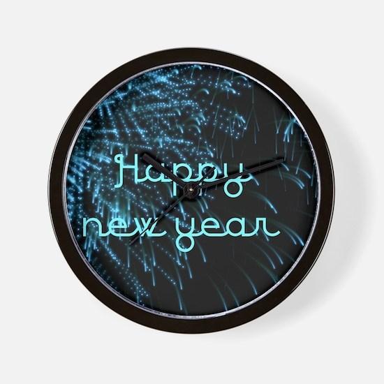 happy new year blue Wall Clock