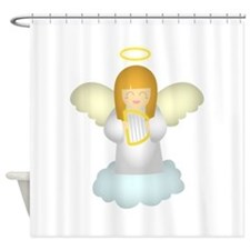 Cute Guardian Angel with Harp Shower Curtain