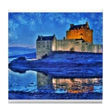 Castle at Christmas Tile Coaster