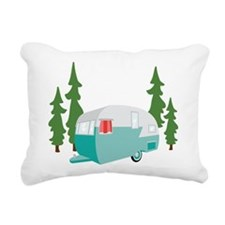 Camper Scene Rectangular Canvas Pillow