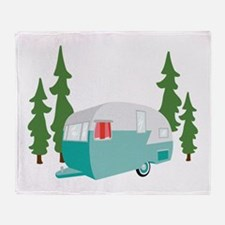 Camper Scene Throw Blanket