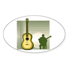 acoustic guitar player sitting yellow Decal