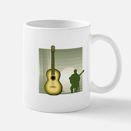 acoustic guitar player sitting yellow Mugs