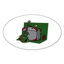 acoustic guitar suitcase green Decal