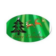 Merry Christmas Green no frame Oval Car Magnet