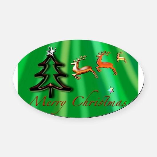 Merry Christmas Green no frame Oval Car Magnet