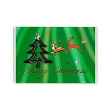 Merry Christmas Green no frame Rectangle Magnet