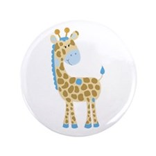 Cute Blue Giraffe 3.5&Quot; Button