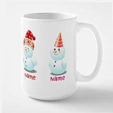 Funny Family Of Snowmen Large Mug