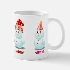 Funny Family Of Snowmen Small Mugs