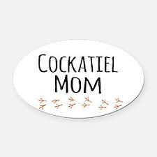 Cockatiel Mom Oval Car Magnet