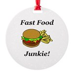 Fast Food Junkie Round Ornament