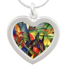 Foxes by Franz Marc Silver Heart Necklace