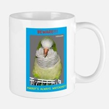 Quaker Parrot is watching Mugs