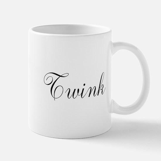Twink Black Script Mugs