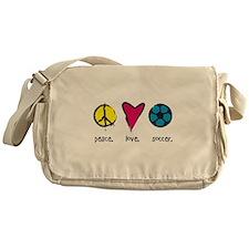 peace. love. soccer. Messenger Bag