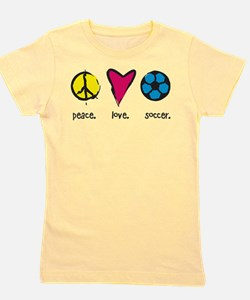 Peace. Love. Soccer. Girl's Tee