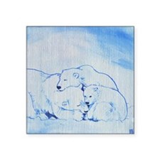 "Arctic Family 2 Square Sticker 3"" x 3"""