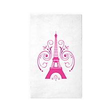Pink Paris Eiffel Tower Swirl 3'x5' Area Rug