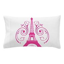 Pink Paris Eiffel Tower Swirl Pillow Case