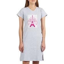 Pink Paris Eiffel Tower Swirl Women's Nightshirt