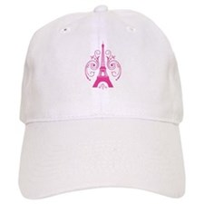 Pink Paris Eiffel Tower Swirl Baseball Cap