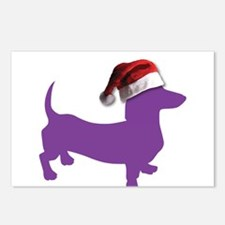 Christmas Purple Dachshund Postcards (Package of 8