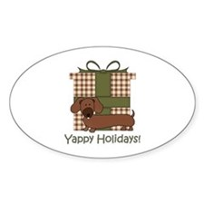 Yappy Holidays Dachshund and Gifts Decal