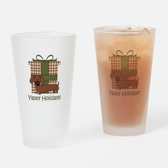 Yappy Holidays Dachshund and Gifts Drinking Glass