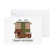 Yappy Holidays Dachshund and Gifts Greeting Card