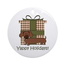Yappy Holidays Dachshund and Gifts Ornament (Round