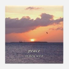 PEACE in Key West - sunset- Tile Coaster