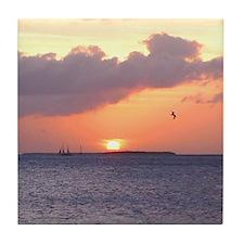 sunset over Key West Florida Tile Coaster