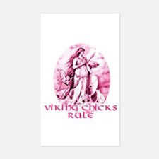 Viking Chicks Rule Rectangle Decal