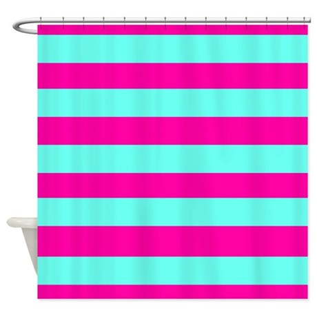 pink and aqua green stripes shower curtain by