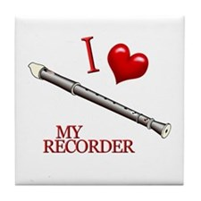 I Love My RECORDER Tile Coaster
