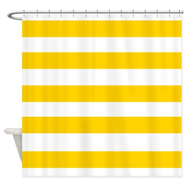 Yellow And White Stripes 2 Shower Curtain By Laughoutlouddesigns1