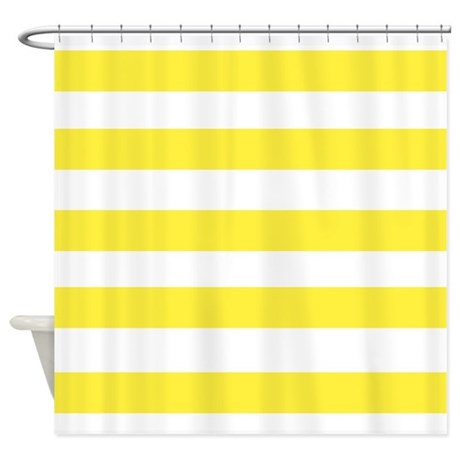 Yellow And White Stripes 3 Shower Curtain By