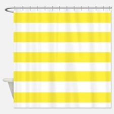 Yellow and White Stripes 3 Shower Curtain