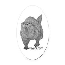 River Otter Oval Car Magnet
