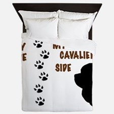 My Side My Cavaliers Side Paw Prints Queen Duvet