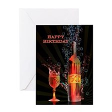 50th Birthday card with splashing wine Greeting Ca