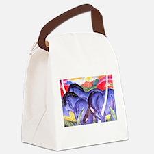 Blue Horses Canvas Lunch Bag