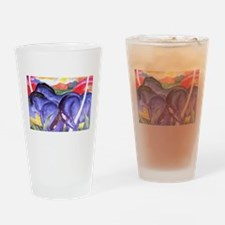 Blue Horses Drinking Glass
