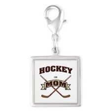 Hockey Mom Silver Square Charm