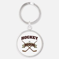 Hockey Mom Round Keychain