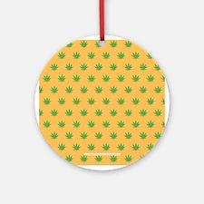 Pot Weed High Hippie 420 Gold Ornament (Round)