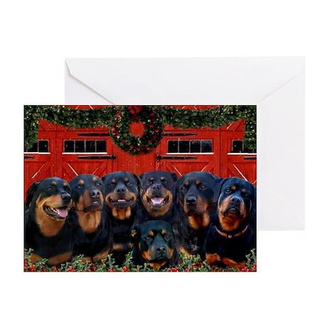 Merry Rotties! Rottweiler Christmas Card (10 Pack)