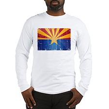 Arizona Flag Distressed Long Sleeve T-Shirt