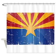 Arizona Flag Distressed Shower Curtain